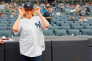 I was so happy to have my family and friends with me at the stadium. I wanted to do the pitch for my grandchildren, Jude and Truman, in hopes that they would also fall in love with baseball. (Photo by: New York Yankees)