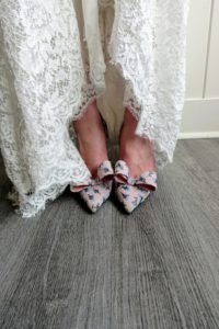The wedding theme was roses and bows - Colleen loves bows, so she made sure to include them in her ensemble. These shoes are Rochas.