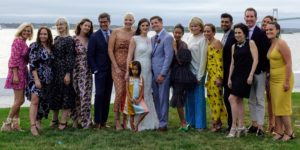 "I love this large group photo with Colleen, Stephen, myself, friends and colleagues - it was so wonderful to see everyone together again for ""Baby Bank's"" wedding. She was affectionately called ""Baby Banks"" because she was the youngest on the Martha Stewart Weddings style team."