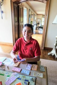 Here's Federico enjoying a game of Monopoly with my grandchildren. Truman is a mastermind Monopoly player - he loves being the banker. The children can play for hours.