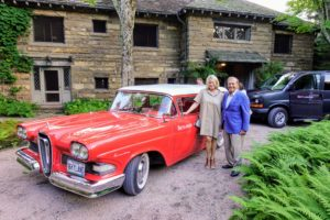 "Later that afternoon, many of us took photos outside with the Edsel. Here I am with Jeff Berkowitz. In this photo, you can see the Edsel's famous ""horse collar"" grille."