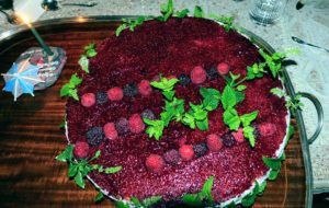 And look how beautiful it is - a yellow cake with raspberry and cream topped with fresh raspberries from my garden and mint leaves also from my garden. The bold colors of red and green look so wonderful together - and it was so delicious.