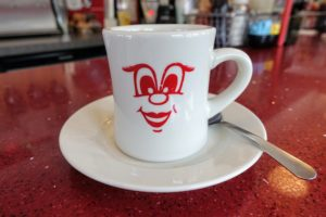 """This is one of the original vintage """"Dinah mugs"""" at the Red Arrow Diner."""