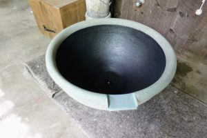 Lunaform makes planters, urns, fountains, birdbaths, and custom garden pieces for both private and public landscapes across the country. This is the inside of a fountain. The inside is colored black in order to make the water look darker and deeper.