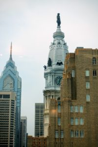 The event was held at the Marriot Downtown Hotel in Philadelphia. I loved the views out the window. Here you can see City Hall. At 548-feet, including the statue of city founder William Penn atop its tower, City Hall was the tallest habitable building in the world from 1894 to 1908. In fact, it was the tallest in Philadelphia until 1986 when the construction of One Liberty Place, the building to its left, surpassed it.