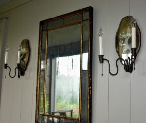 I have several of these beautiful antique sconces backed by mirrors which also helped to intensify the light.