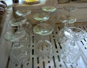 Here are some of the newly washed glasses waiting to be dried.