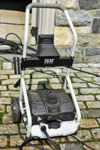 And she is using my powerful Martha Stewart Pressure Select 1450/2030 PSI Electric Pressure Washer from my collection at QVC. This easy-to-use pressure washer has intense jets that blast away all the grime. Everyone on the crew loves it.
