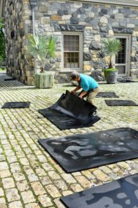 As each mat is finished, Phurba turns it over, so the undersides could also be cleaned. Allowing them to dry outside helps to eliminate odors and kill bacteria that thrives on moisture.