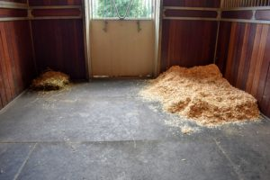 And then the stall is ready for a new layer of wood shavings and straw pellets. In the opposite corner - some hay.