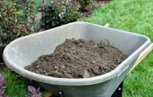 As with all our gardening projects, any extra soil is gathered and returned to the compost heap, so it can be reused again at a later time.