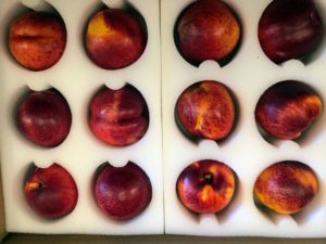 This is a box of beautiful peaches from Frog Hollow Farm in California. If you caught my appearance on QVC yesterday, I hope you bought a box of these delicious organic fruits from my gourmet foods collection - so juicy and so fresh. goo.gl/Daq54D