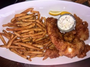 It's a great place for farm and sea to table food - everything is cooked fresh. This classic beer battered fish and chips is a big favorite.