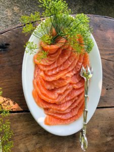 Pierre cures the salmon, marinates it and then slices it - such a beautiful presentation. This salmon is from our friends at True North Seafood Company. http://www.truenorthseafood.com/