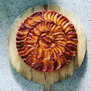 And for dessert, Chef Molly made this stunning upside down peach cake. Kevin took this photo in just the perfect light. The peaches are from Frog Hollow Farm. goo.gl/kKDQxK