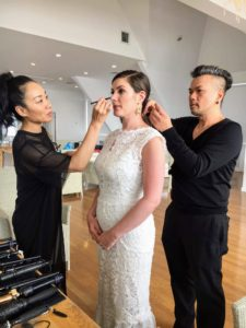 Moani Lee and Linh Nguyen worked together to get Colleen ready. This hair and make up team has worked on many Martha Stewart Weddings fashion shoots.