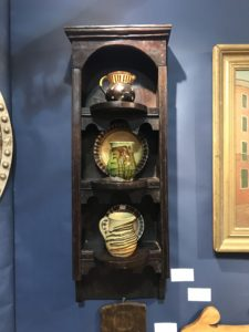 And these interesting antique pottery jugs and plates. Early American utilitarian earthenware and stoneware vessels date back to the Colonial period.