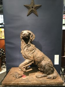 And who can resist a handsome cast iron dog figure - this one a hunting dog presented by Heller Washam Antiques in Portland, Maine.