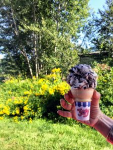 "Did you see who was eating this delicious ice cream on my Instagram page @MarthaStewart48? Take a look to find out, but it's a cone of ""Moose Tracks"" ice cream from Tracey's Lobsters + Clams in Sullivan, Maine. It was the perfect afternoon treat. On my next blog - more photos from Skylands, my beloved summer home."