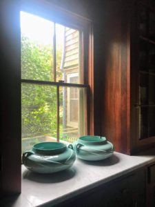 Kevin gave me these gorgeous McCoy pots a couple years ago. They are displayed in one of my kitchen windows. McCoy is a brand of pottery that was produced in the United States in the early 20th century. These particular pots were once used as humidifiers.