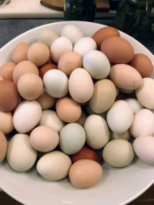 Of course, I brought many, many eggs from my chickens at my Bedford, New York farm. We ate so many delicious eggs.