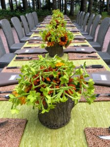 Here is a table setting I put together for another dinner at Skylands. This outdoor gathering was under clear skies.