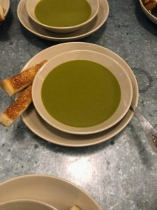 My birthday dinner began with a delicious sorrel soup. Garden sorrel, Rumex acetosa, is a perennial herb in the family Polygonaceae. The leaves are often used for soups, sauces or added to salads. Each bowl was served with lightly toasted bread.