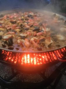I love paella – and it is such a great option for parties. One weekend, I hosted a gathering at Skylands for 20-guests. Here is the paella cooking - it requires very attentive care.