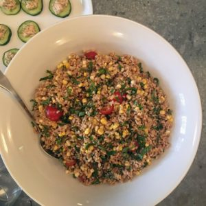 Here's another salad - Farro with fresh corn, cherry tomatoes and basil with a sherry vinaigrette dressing.