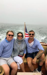 During the week we also took several rides aboard my Hinckley picnic boat, Skylands II. Here are my friends Jim and Lisa Cohen and Douglas.