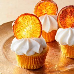 Each cupcake has just the right amount of orange zest. The orange slice chip is optional, but they're so easy to make - just dry them in the oven to create this fancy garnish.