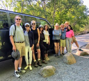 On this day, we all got up early for a big hike, but when this photo was taken, the destination was still unknown - I wanted to surprise them. Pictured here are Jim, Jayne Abess, Susan Magrino, Hannah Milman, Lisa, myself, Leonard Abess, Yolanda Berkowitz and Michael Smith.