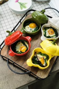 These individual covered serving bowls are great for serving warm breakfasts on cool mornings. They are shaped as whimsical sweet peppers fresh from the garden.