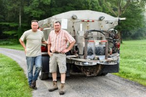 Joe Church is the owner of J.A. Church Farms in Sharon, Connecticut. Brian Allyn, owns Allyndale Limestone Corporation in East Canaan, Connecticut. The team brought several tons of ground limestone to drop on my fields.