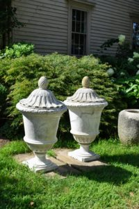 These are covered marble mid-18th century urns hand-carved by a master Italian artisan in Marchese.