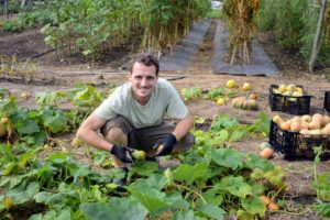A garden situated in full sun with warm, well-drained, fertile soil that's slightly acidic is the ideal spot for growing squash. Ryan is amazed with the many fruits there are to pick.