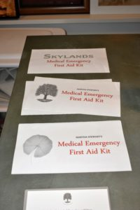 Large labels are printed for each box with bright red lettering for visibility. I will establish a clearly-defined, consistent spot for these first aid kits in each home.