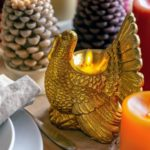For Thanksgiving, here are my all-new Wax Turkey Figural Candles. These also come with a remote and are available in both gold and ivory. They stand about six and a half inches tall and will look so beautiful on the Thanksgiving table.