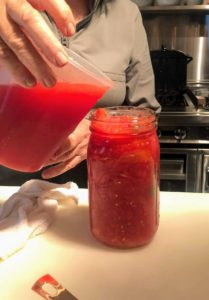 Just like the others, I added fresh tomato juice into the jar leaving some space at the very top.