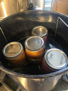 Using tongs or canning jar clamps, place the filled jars into the pot.