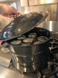 Add water to cover if needed, and then cover the pot. Process the jars in gently boiling water for 45-minutes.
