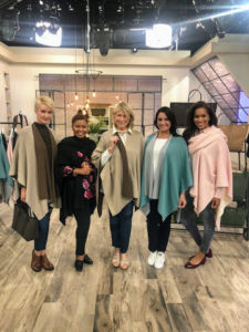 Here I am with QVC's models - we're all wearing my new Ruana - a very versatile and most comfortable wrap.