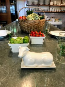 I love this whimsical Farmhouse Figural Cow Covered Butter Dish. It measures eight-inches by four-inches by four-inches and is both dishwasher and microwave safe.
