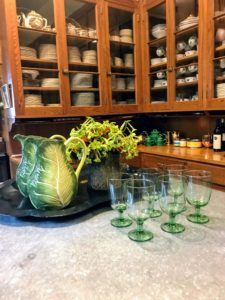 Here on the counter in my Skylands pantry are two Farmhouse Cabbage Pitchers with fun, crisp green-tones and contemporary leaf-inspired styling - and dishwasher safe. These pitchers go so well with my Farmhouse Green Glass Goblets.