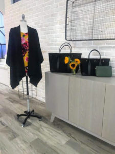 The elegant black Ruana matches everything. Here it is with one of my Crepe Jersey Floral Print Tops in Yarrow Ground - such a wonderful autumn combination. I also showed my totes and my new Zip Top Pouch with Leather Trim.