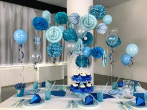 Here is one of my wonderful themes available at Michaels. This one is called Blue Ombre and it includes everything - plates, cups, serving trays, and lots of festive wall and table decorations. goo.gl/uyDrGF