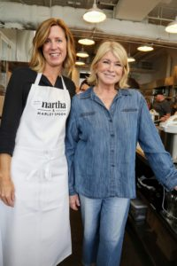 "Here I am with Jennifer Aaronson, culinary director for Martha & Marley Spoon. After attendees arrived, I welcomed everyone to our offices and talked about how exciting it is to have my ""Pressure Cooker"" book recipes adapted to fit the Martha & Marley Spoon meal-kits. The recipes have been rigorously tested and are sure to be delicious and nutritious. (Photo by Laura Manzano)"