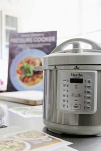 And here is my new eight-quart Everything Pressure Cooker. I love this appliance. It is bigger than other models, cooks up to 70-percent faster, and has the handsome gray trim. It will be available on QVC and Amazon this November - just in time for those holiday meals. (Photo by Laura Manzano)