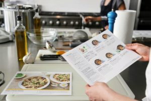 On the back of the recipe card are easy-to-read and easy-to-follow steps and helpful tips. Martha & Marley Spoon is adding one pressure cooker recipe from my book per week to their meal-kit ordering menus now through September 27th. (Photo by Laura Manzano)