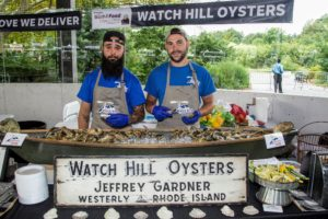 Another popular station for visitors was the Watch Hill Oysters booth. Watch Hill oysters have been farm raised in Winnapaug Pond, Rhode Island for more than 27-years by owner, Jeff Gardner, his family and crew. I love Watch Hill oysters and have served them many times at my own parties. (Photo by Richard Formicola) https://www.watchhilloysters.net/
